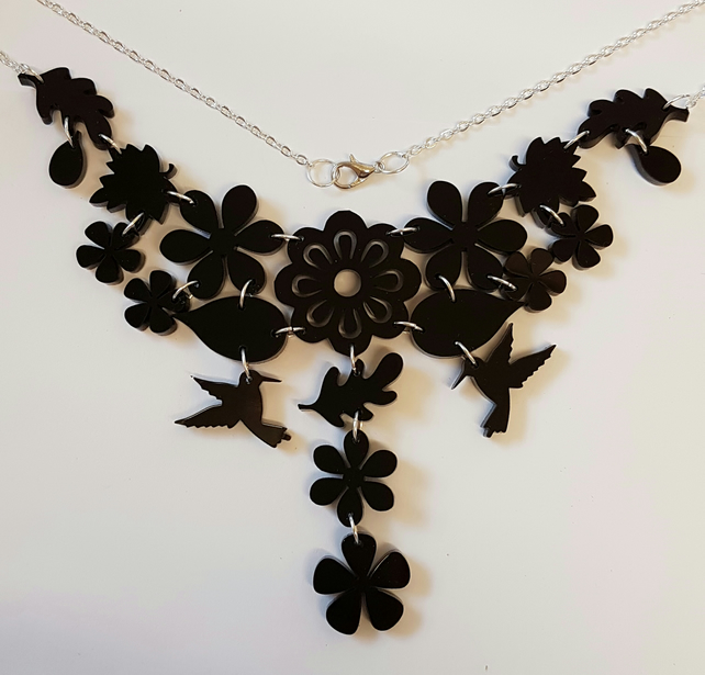 Tropical Dream Necklace - Black Acrylic