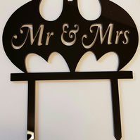 Acrylic Cake Topper - Mr Mrs Bat - Laser cut