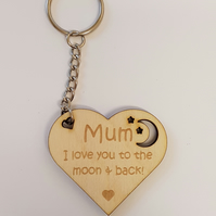 Mum heart Keyring - Birch Plywood