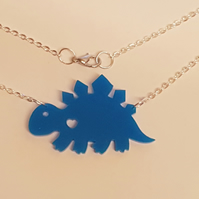Dino Stegosaurus Heart Necklace - Acrylic