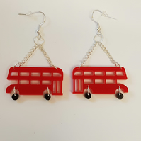 Red London Bus Retro Earrings - Acrylic