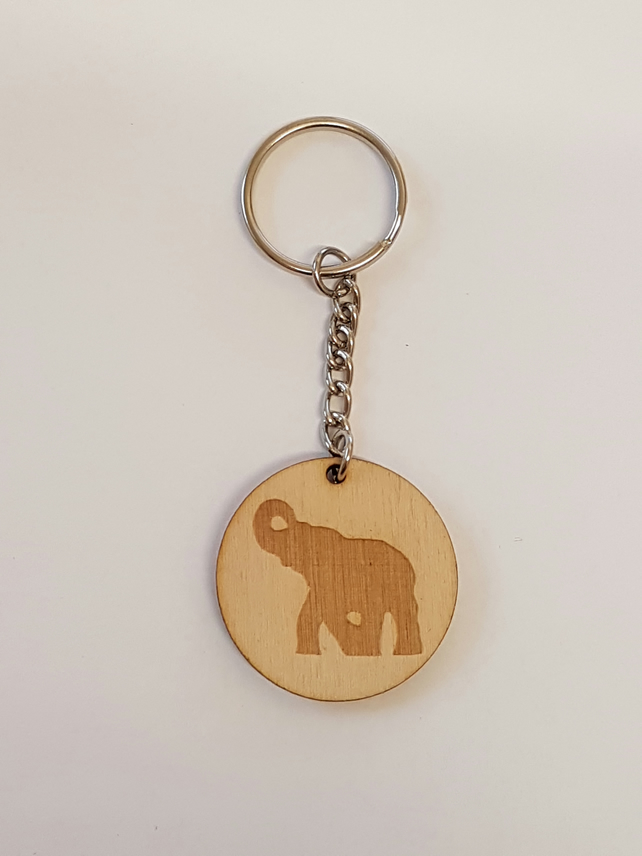 Elephant Silhouette Keyring - Birch Plywood