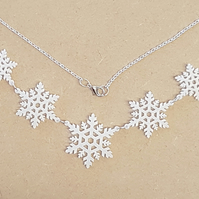 Christmas Multiple Snowflake Necklace - Acrylic