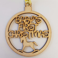 Birch Christmas Xmas Bauble Baby's First Christmas - Laser cut wooden shape