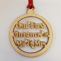 Birch Christmas Xmas Bauble Mr and Mrs First Christmas - Laser cut wooden shape