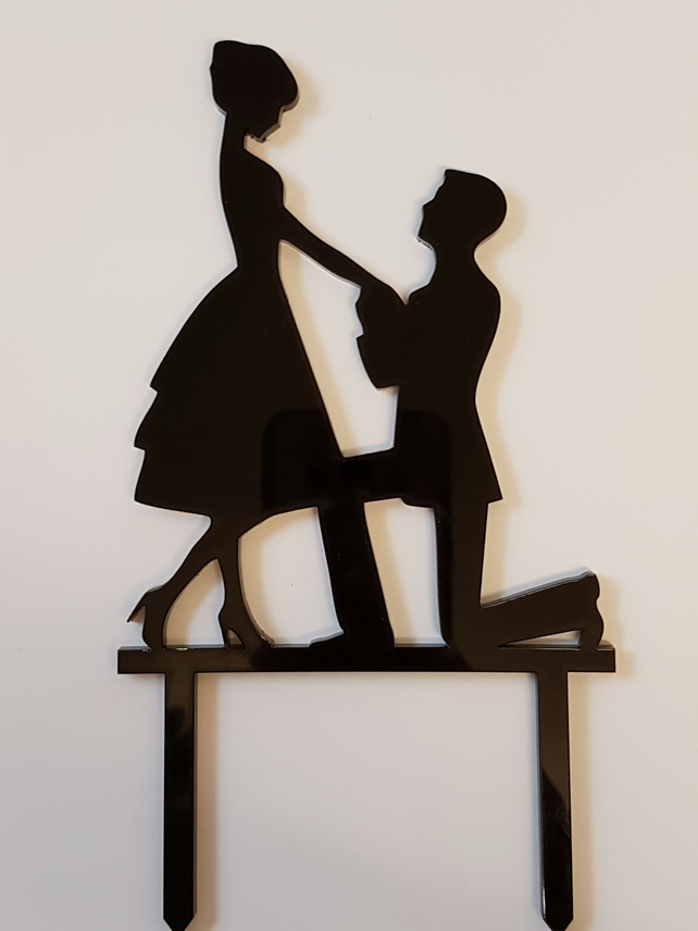 Acrylic Cake Topper - Engagement couple - Laser cut