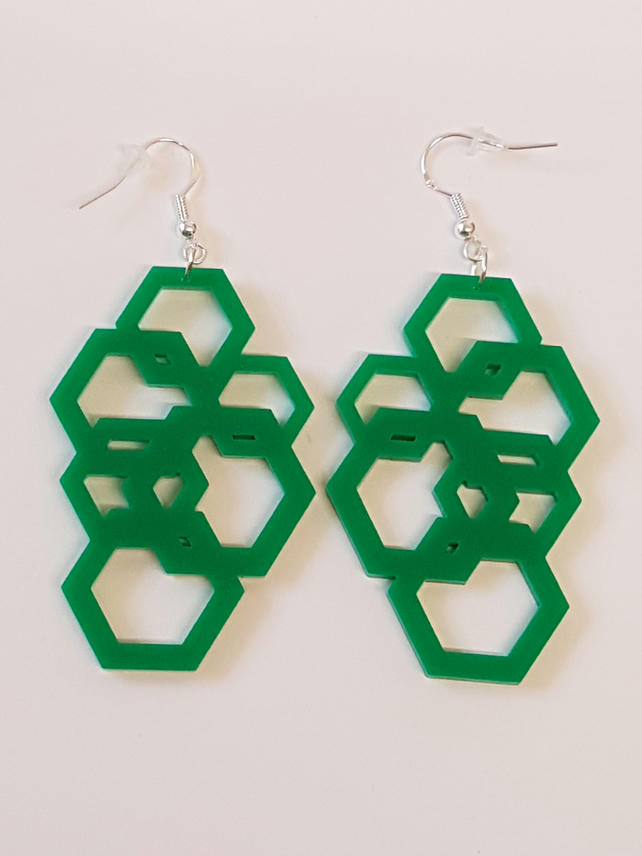 Geometric Hexagon Earrings - Acrylic
