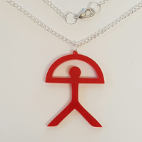 Indalo Man Necklace - Red Acrylic