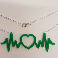 Heartbeat with Heart EKG Necklace - Acrylic