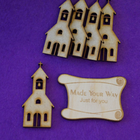 MDF Church 5cm - 5 x Laser cut wooden shape