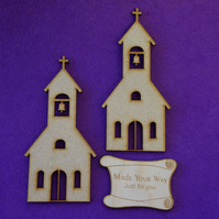 MDF Church 10cm - 2 x Laser cut wooden shape