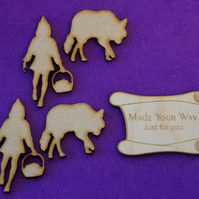 MDF Red Riding Hood and Wolf set 5cm - 2 x Laser cut wooden shape