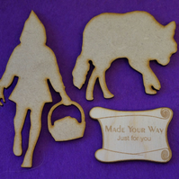 MDF Red Riding Hood and Wolf set 10cm - Laser cut wooden shape