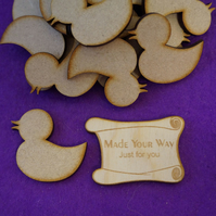 MDF Rubber Duck 4cm- 25 x Laser cut wooden shape