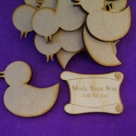 MDF Rubber Duck 5cm - 15 x Laser cut wooden shape