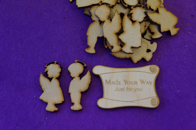 MDF Boy and Girl Angel 4cm - 20 (10 pairs) x Laser cut wooden shape