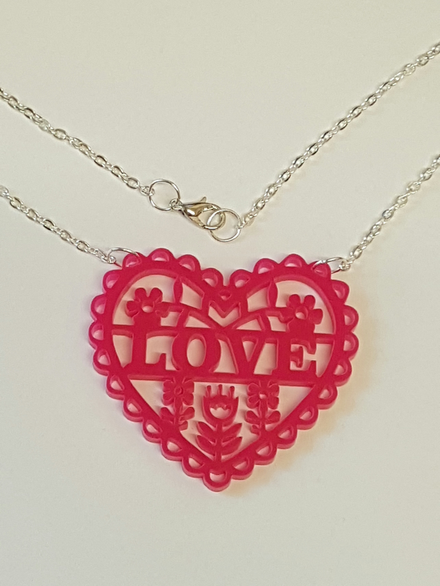 Heart, Love and Flowers Necklace - Acrylic