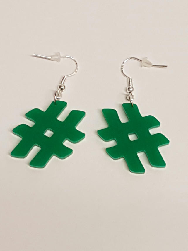 Hash Tag symbol Earrings - Acrylic