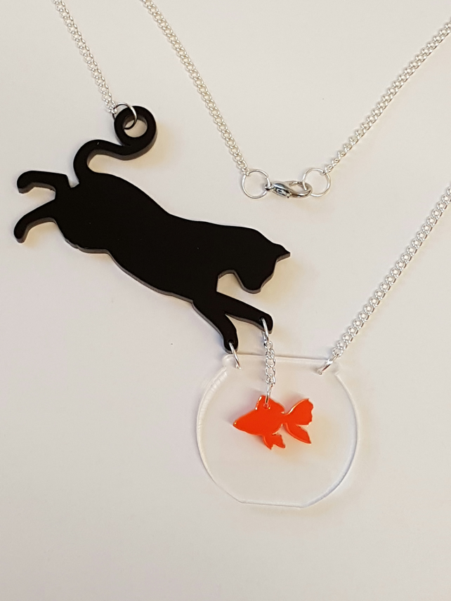 Cat goes fishing Necklace - Acrylic