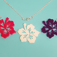 Tropical Hibiscus Flower Necklace - Pink Multi