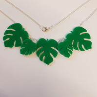 Palm Leaves Necklace Acrylic - Green