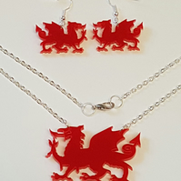 Welsh Dragon Necklace and Earring set - Acrylic