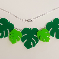 Tropical Palm Leaves Necklace Acrylic - Shades of Green
