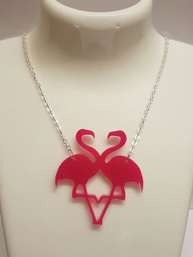 Double Flamingo Silhouette necklace - Acrylic