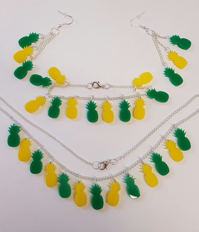 Multiple Pineapple Fruity Necklace, Earrings and Bracelet Set - Acrylic
