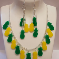 Multiple Pineapple Fruity Necklace and Earrings Set
