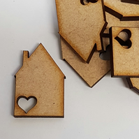 MDF House with heart 3cm - 30 x Laser cut wooden shape