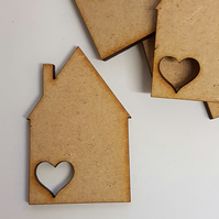 MDF House with heart 5cm - 10 x Laser cut wooden shape