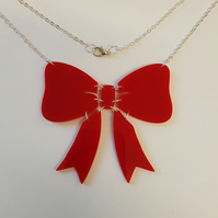 Large Intricate Bow Necklace - Acrylic