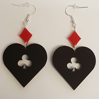 Alice Inspired Hearts, Clubs and Diamonds Earrings - Acrylic