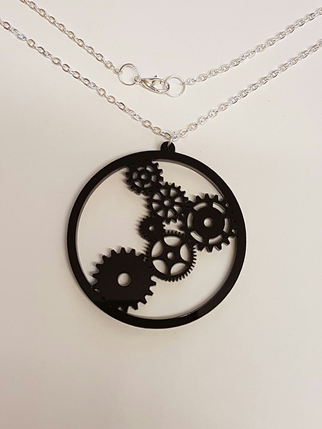 Steampunk Cog Necklace - Acrylic