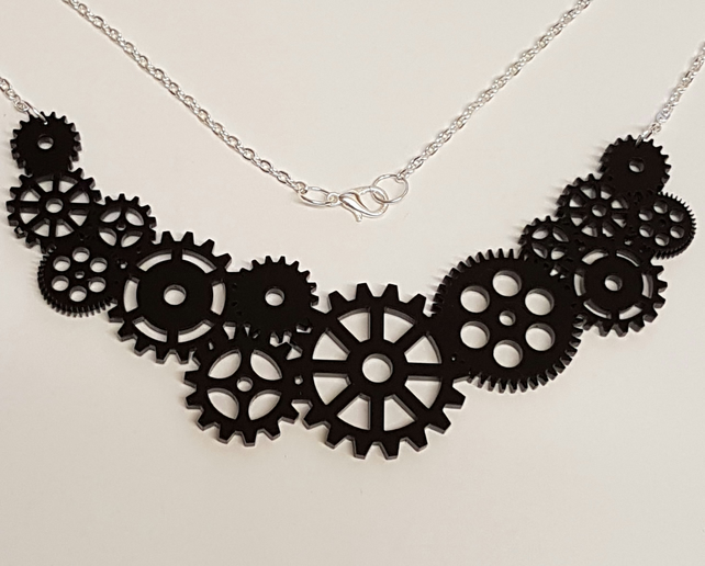 Steampunk Multiple Cog Necklace - Acrylic
