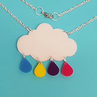 Raincloud White Necklace - Acrylic