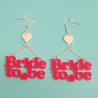 Bride to Be Hen Party Earrings - Acrylic