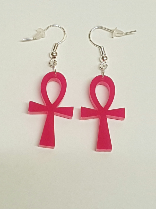 Ankh Cross Earrings - Acrylic