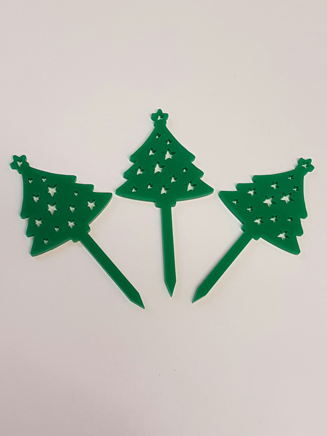 Christmas Tree Cupcake Toppers x 3 - Acrylic