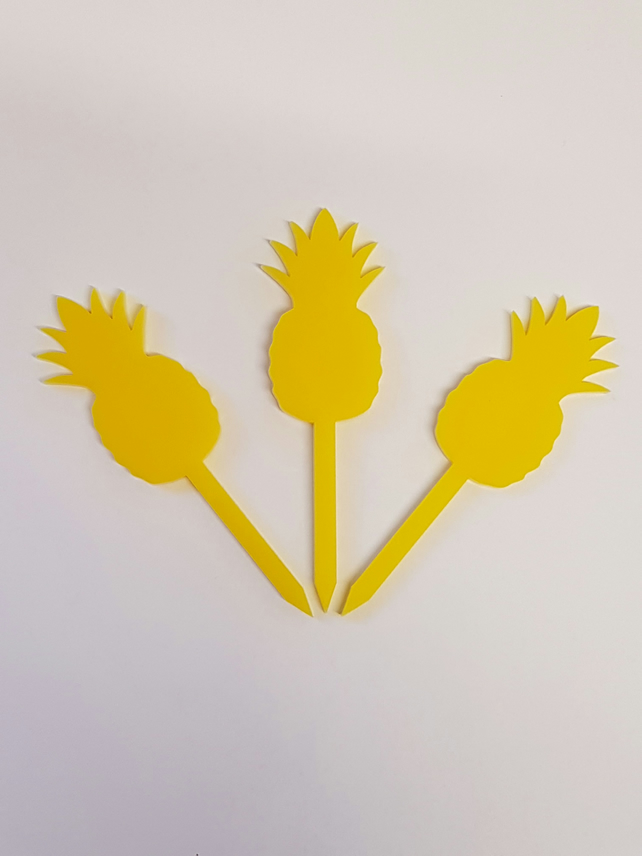 Pineapple Cupcake Toppers x 3 - Acrylic