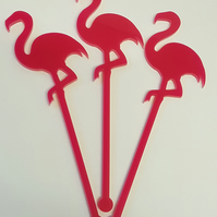 Flamingo Cocktail Stirrer Swizzle Stick x 3