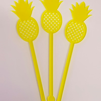 Pineapple Cocktail Stirrer Swizzle Stick x 3 - Acrylic