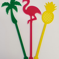 Flamingo, Palm Tree, Pineapple Cocktail Stirrer Swizzle Stick x 3 - Acrylic