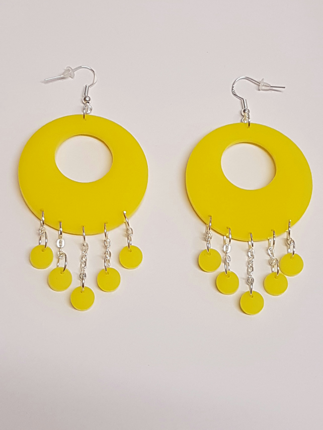 Funky Geometric Hoop and Circle Earrings - Acrylic