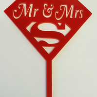 Mr Mrs Superhero Cake Topper - Acrylic
