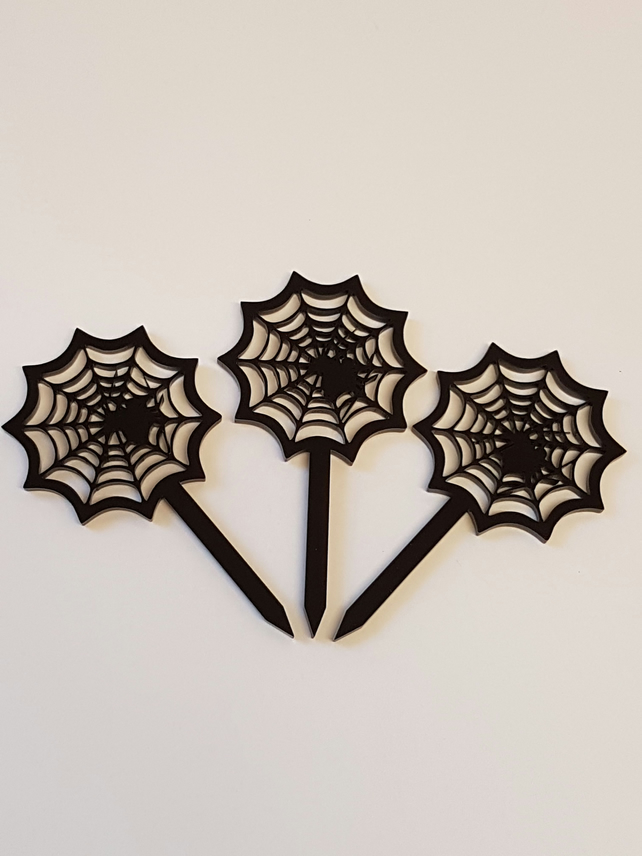 Halloween Spider in Web Cupcake Toppers x 3 - Acrylic