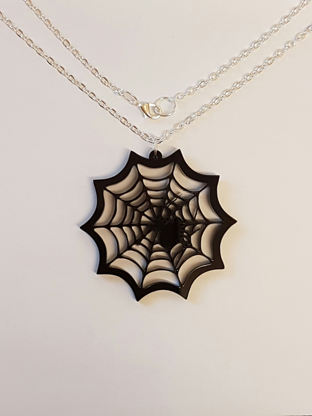 Spider in Web Necklace - Acrylic