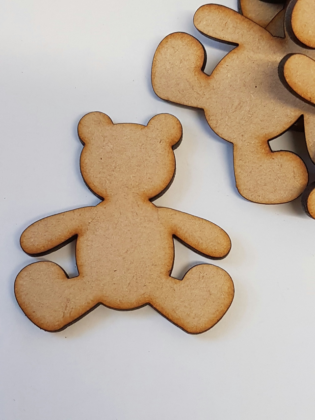Mdf Teddy Bear 5cm 10 X Laser Cut Wooden Shape Folksy