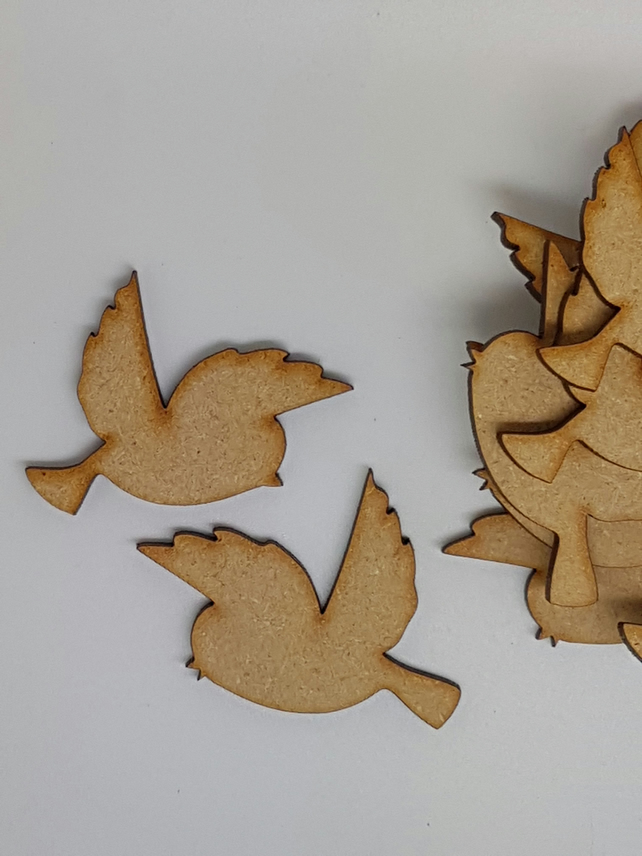 MDF Bird Pair A 4cm - 10 x Laser cut wooden shape (5 pairs)